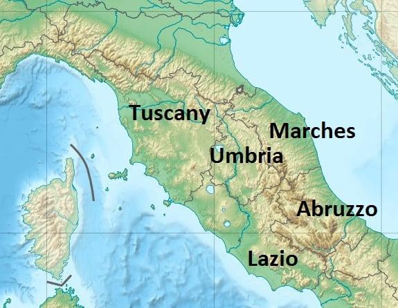 Cental Italy Map