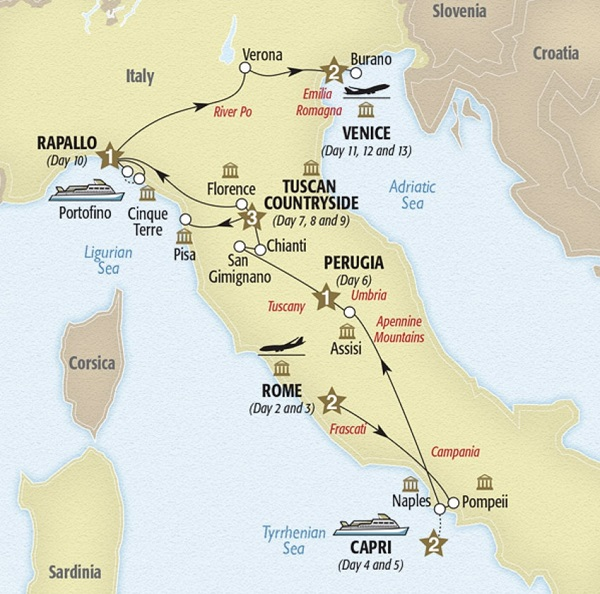 luxury italy tour map rome capri tuscany cinque terre venice