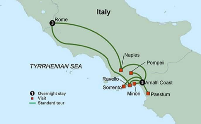 rome amalfi coast tours map southern italy tour
