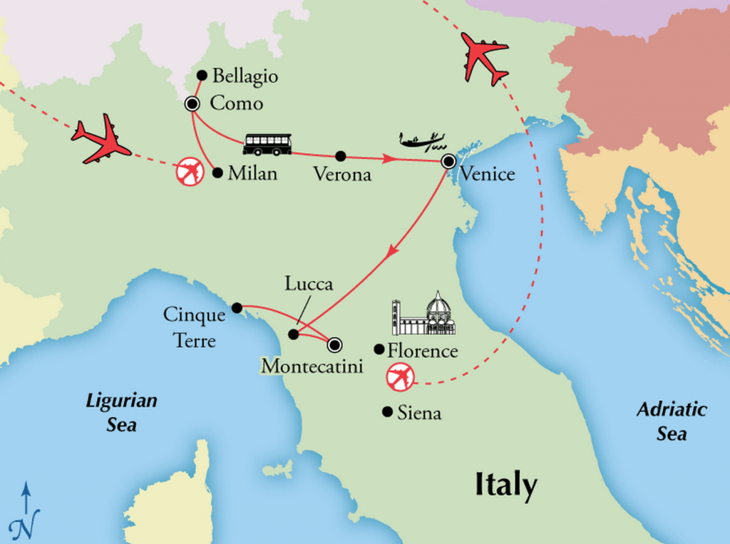 Italian Lakes to Tuscany Tour – Northern Italy Map Tourist