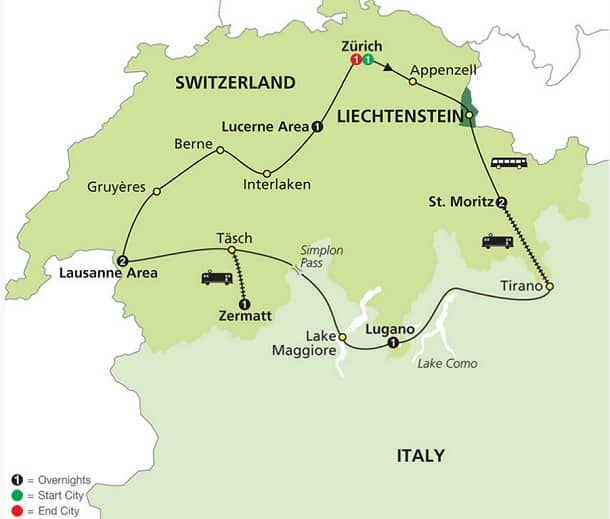 Switzerland Italy Tour Escorted Itinerary Map