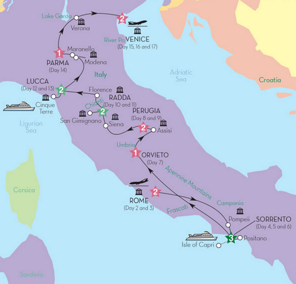 17day Prehensive Italy Tour Rome Sorrento Orvieto Perugia: Chianti Italy Map At Infoasik.co