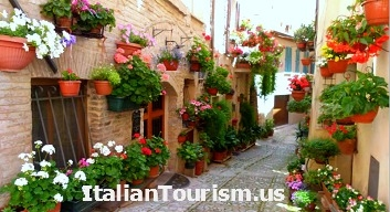 Umbria Spello Italy tour package street flowers