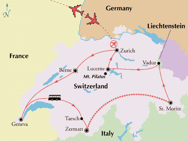 switzerland tour map zurich round trip
