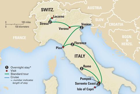 map italian vistas italy tour rome sorrento lakes