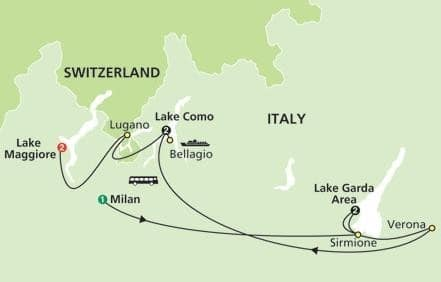 italian lakes tour map