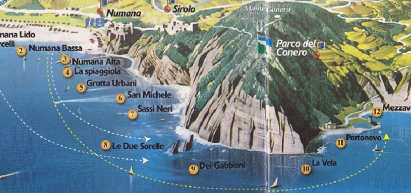map monte conero beaches