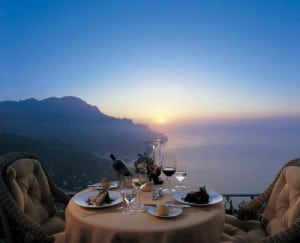 amalfi coast vacation sunset dinner
