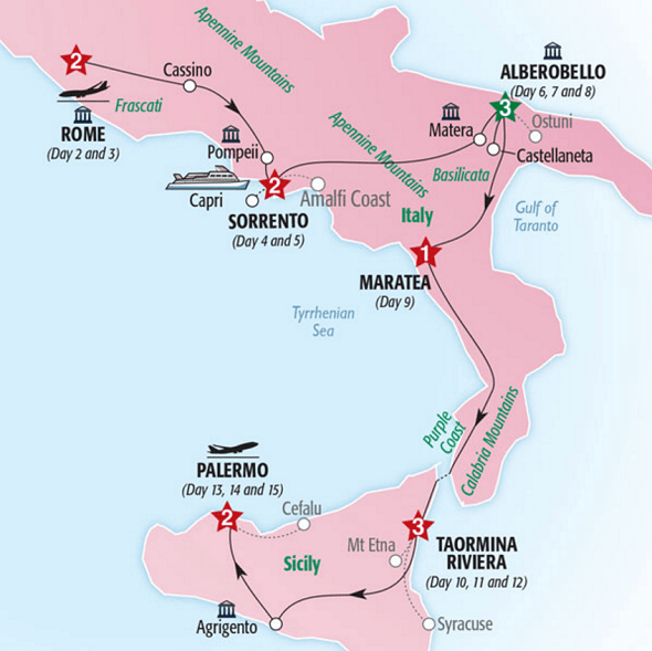 rome southern italy sicily tour map itinerary