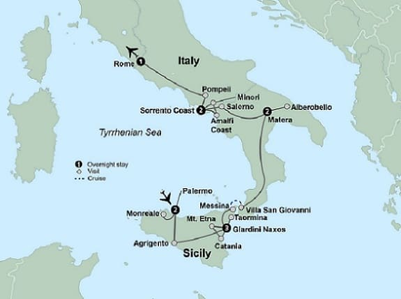 map sicily southern italy tour