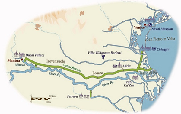 italy river cruise venice mantua river po map