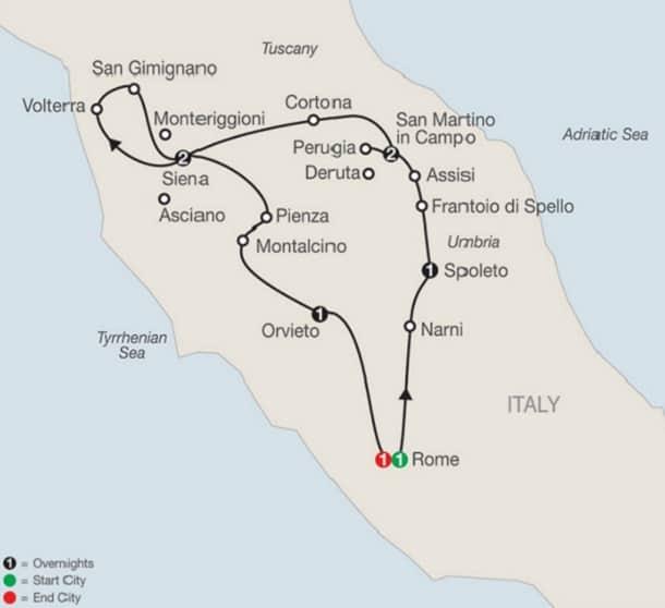 umbria-tuscany-tour-map-itinerary