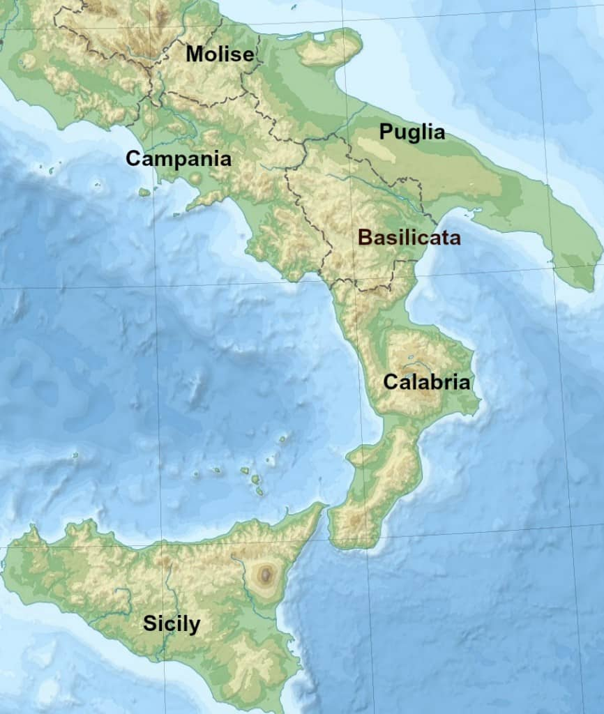 southern italy tour map
