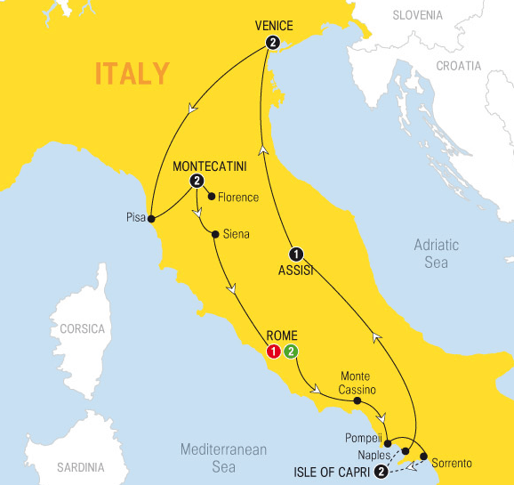 map Italy tour package 2014 venice tuscany rome capri