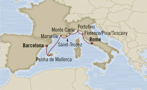 map rome barcelona italy cruise