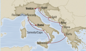 map venice rome cruise june 2014