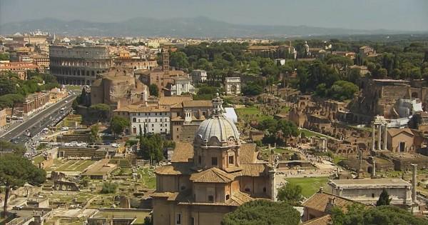 ancient rome forum colosseum bird eye view