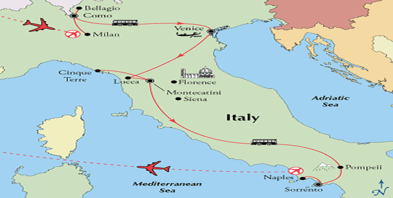 Map Of Italy Showing Venice.Amalfi Coast Vacations Escorted Tours And Independent Italy Vacations
