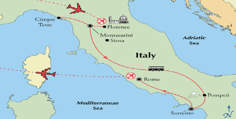 map-tuscany-southern-italy-rome-tour