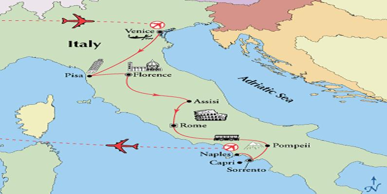 venice florence rome amalfi itay tour map