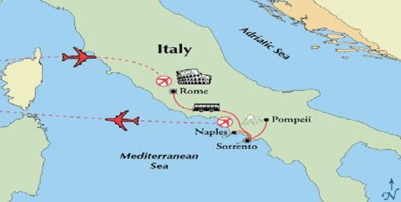 map rome amalfi coast tour