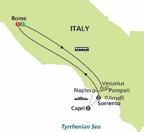 map rome capri sorrento tour