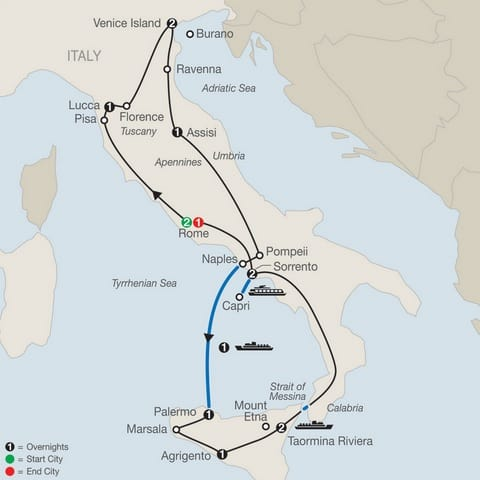 italy sicily tour map