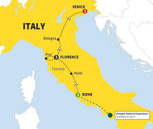 italy tour map rome florence venice