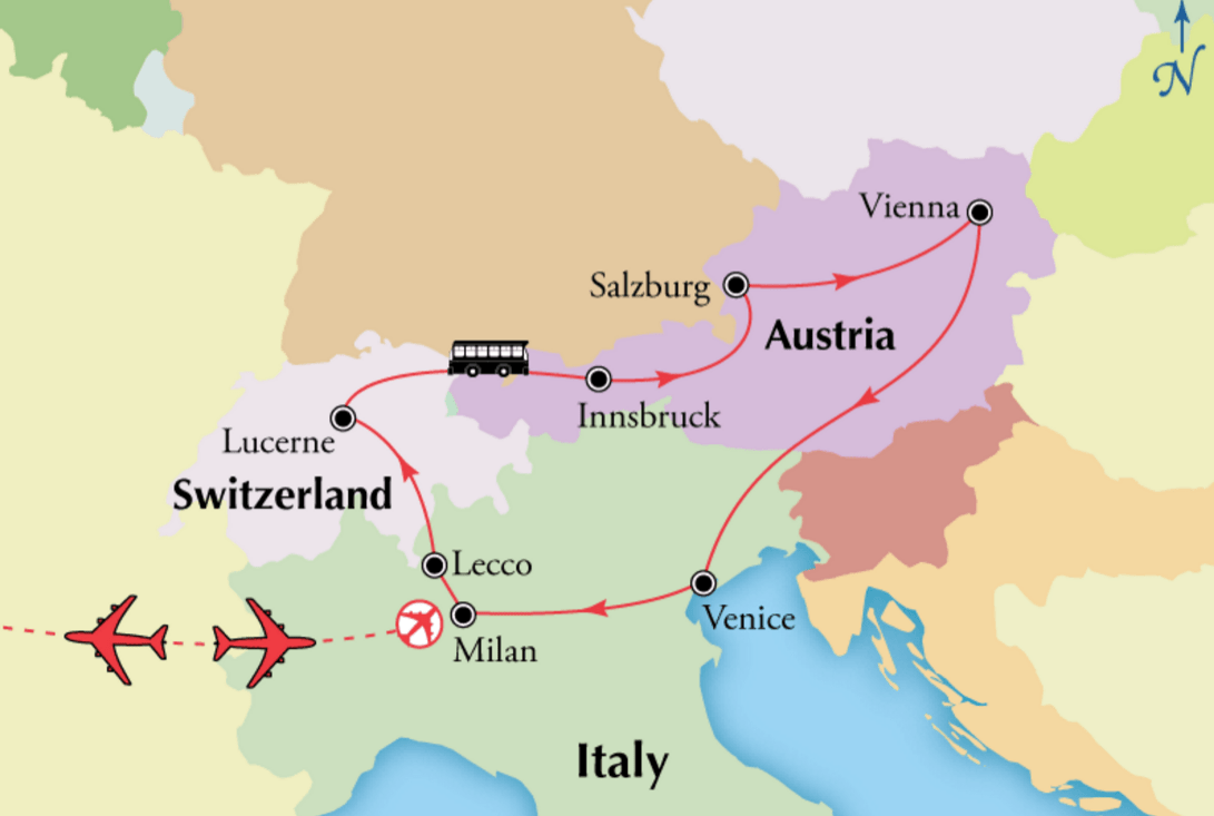 Northern italy tour with austria and switzerland milan salzburg austria switzerland northern italy tour map gumiabroncs Gallery