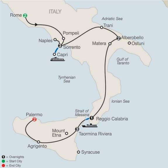 map rome sicily southern italy tour