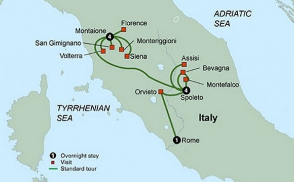 tuscany umbria tour map