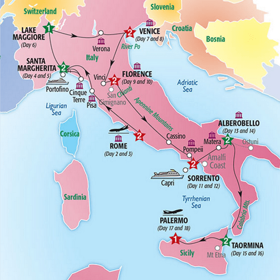 map italy sicily tour