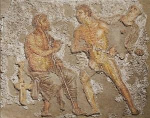 Achilles and Agamemnon, scene from Book I of the Iliad, Roman mosaic