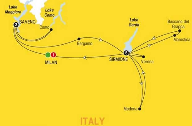 best italian lakes tour map
