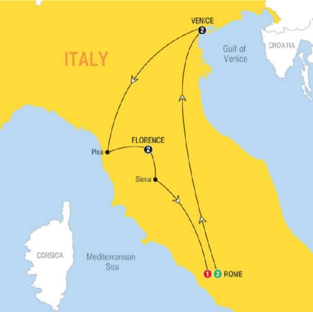 italy tour map rome florence venice rome