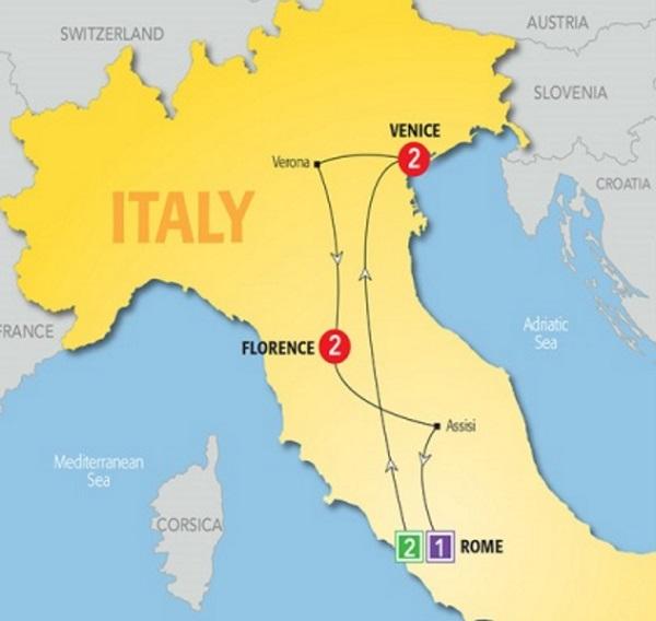 tour map rome venice florence veron aassis