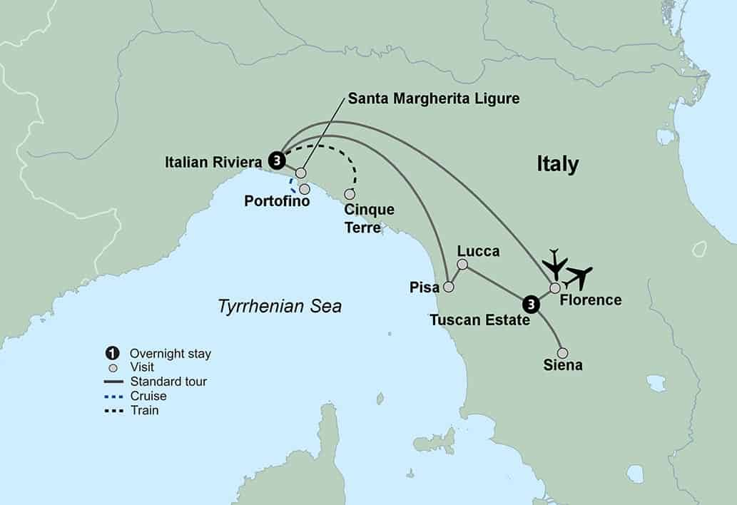 Map Of Italy Showing Pisa.Tuscany And Italian Riviera Tour Cinque Terre Florence Lucca
