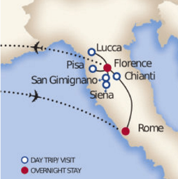 rome tuscnay tour map