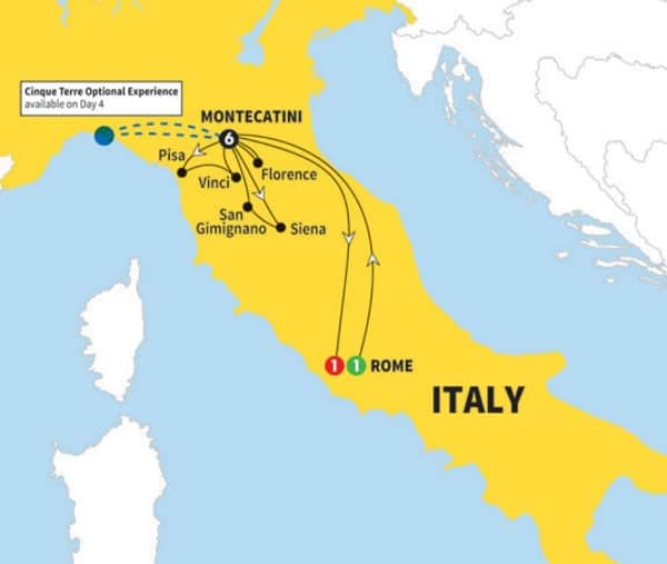 tuscany tour rome itinerary map