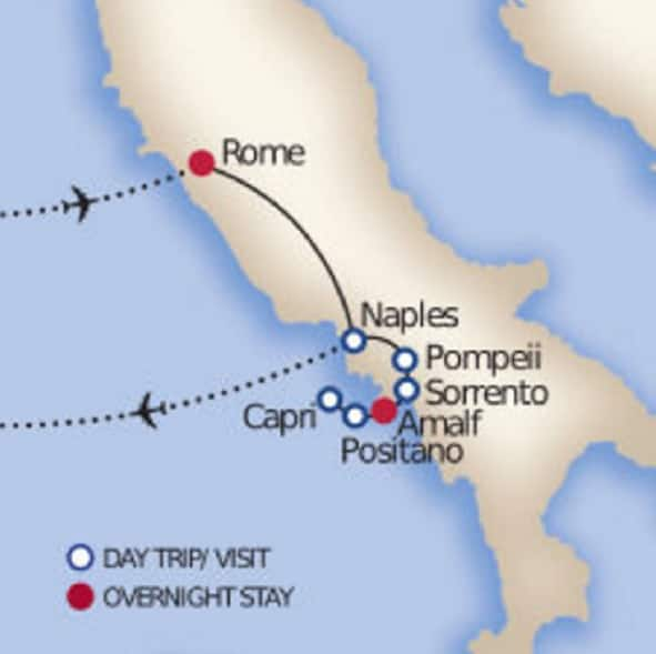 rome-amalfi-coast-tour-map