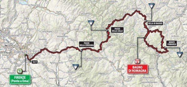 stage 11 map florence to magno di romagna