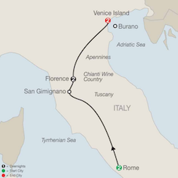 map rome florence venice itinerary