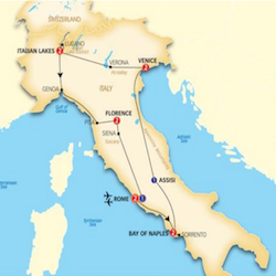 affordable italy tour itinerary map