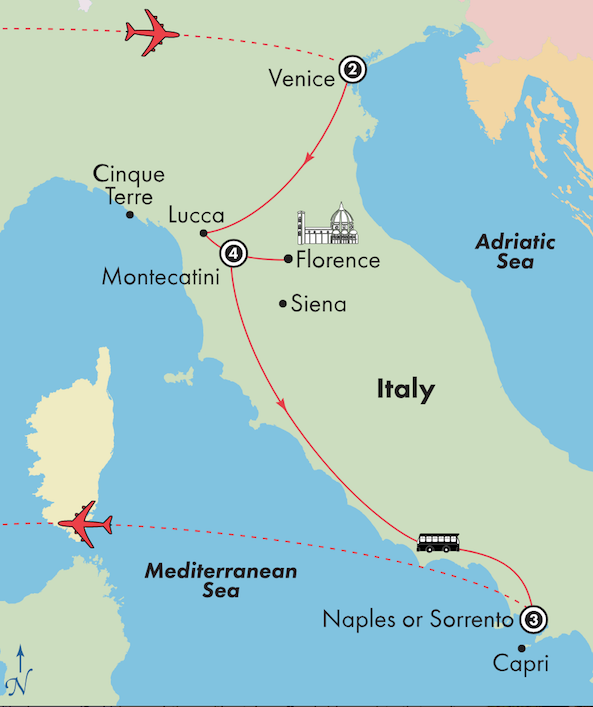 italy tour package venice tuscany amalfi coast map itinerary