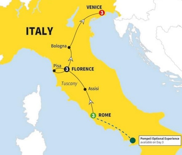 italy tour rome florence venice itinerary map