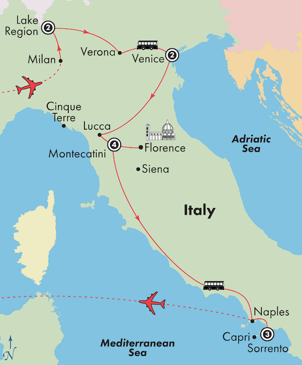 italy tour package italian lakes venice tuscany amalfi tour itinerary map