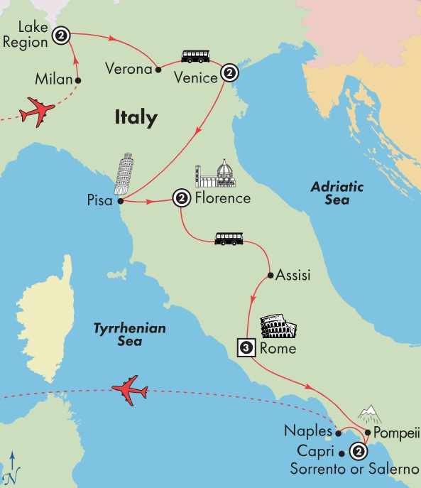 italy tour package map italian lakes venice, florence, rome, sorrento