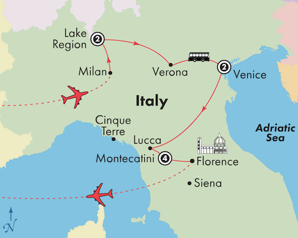 italy tour package lake como vencie tuscany itinerary map
