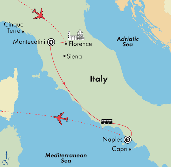 tuscany amalfi coast italy tour package itinerary map
