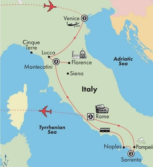 italy tour venice tuscany amalafi rome map